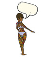 cartoon bikini girl covered in tattoos with speech vector image vector image
