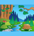 cartoon forest landscape 1 vector image vector image