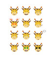 cartoon giraffe emotions set vector image vector image