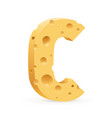 cheese font c letter on white vector image vector image