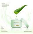 container with cosmetic cream aloe vera leaf vector image vector image