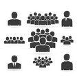 crowd of people in team icon silhouettes vector image vector image