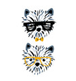 cute dog in glasses ink drawn print perfect for t vector image vector image