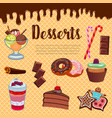 desserts waffle and cakes poster vector image vector image