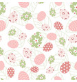easter pattern with eggs and leaves vector image