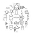 english tea icons set outline style vector image vector image