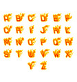 fiery a to z letters burning abc fire flame hot vector image
