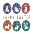 Floral easter eggs with bunny set vector image vector image