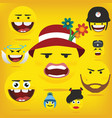 funny happy yellow emojismiley emoticons vector image