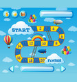 game template with balloons in sky background vector image