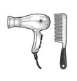 hair dryer and comb sketch vector image vector image