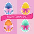Happy easter cards easter egg set vector image