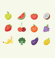 happy smiling cartoon fruits icon vector image vector image