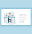 incredible experiments landing page vector image vector image