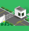 isometric building guards vector image