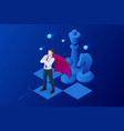 isometric businessman standing on chess board vector image vector image