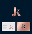 j and k letter monogram combined gold vector image vector image