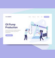 landing page template of oil pump production vector image