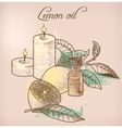 Lemon essential oil and candles vector image vector image