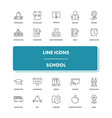 line icons set school vector image