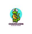 logo chameleon pillow mascot cartoon style vector image