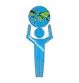 man pictogram holding world map vector image vector image