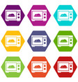 microwave icon set color hexahedron vector image