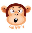 monkey is feeling grumpy on white background vector image