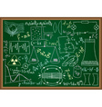 Physical doodles and equations on chalkboard vector image vector image