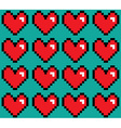 Pixelated hearts seamless pattern vector image