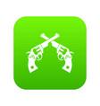 revolvers icon digital green vector image vector image