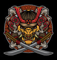 samurai mask traditional tattoo vector image vector image