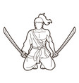 samurai warrior sitting with swords cartoon vector image vector image