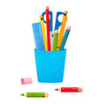 school or office cup for pens and pencils bright vector image