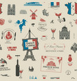 seamless pattern on theme french cuisine vector image vector image