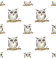 Seamless pattern with doodle owl vector image vector image