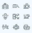 search icons line style set with mobile marketing vector image vector image