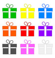 set colored gifts isolated on white background vector image