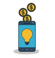 smartphone device with light bulb in screen and vector image vector image