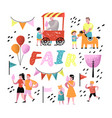 summer fun fair amusement park characters vector image vector image