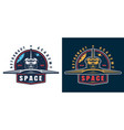 vintage astronaut academy colorful emblem vector image vector image