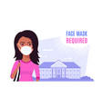 young woman wearing face mask flat style vector image