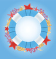 Shells and starfishes on sand background vector image