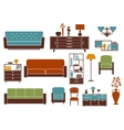 Flat furniture and interior accessories vector image
