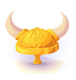 viking helmet of gold color vector image