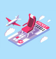 3d isometric ticket for air flight in sky vector image