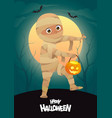 boy in halloween mummy costume cartoon character vector image vector image