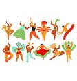 carnival dancers capoeira brazilian people vector image