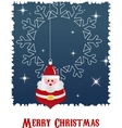 Christmas background with santa and snow vector image vector image