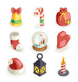 christmas isometric 3d icons set flat cartoon vector image vector image